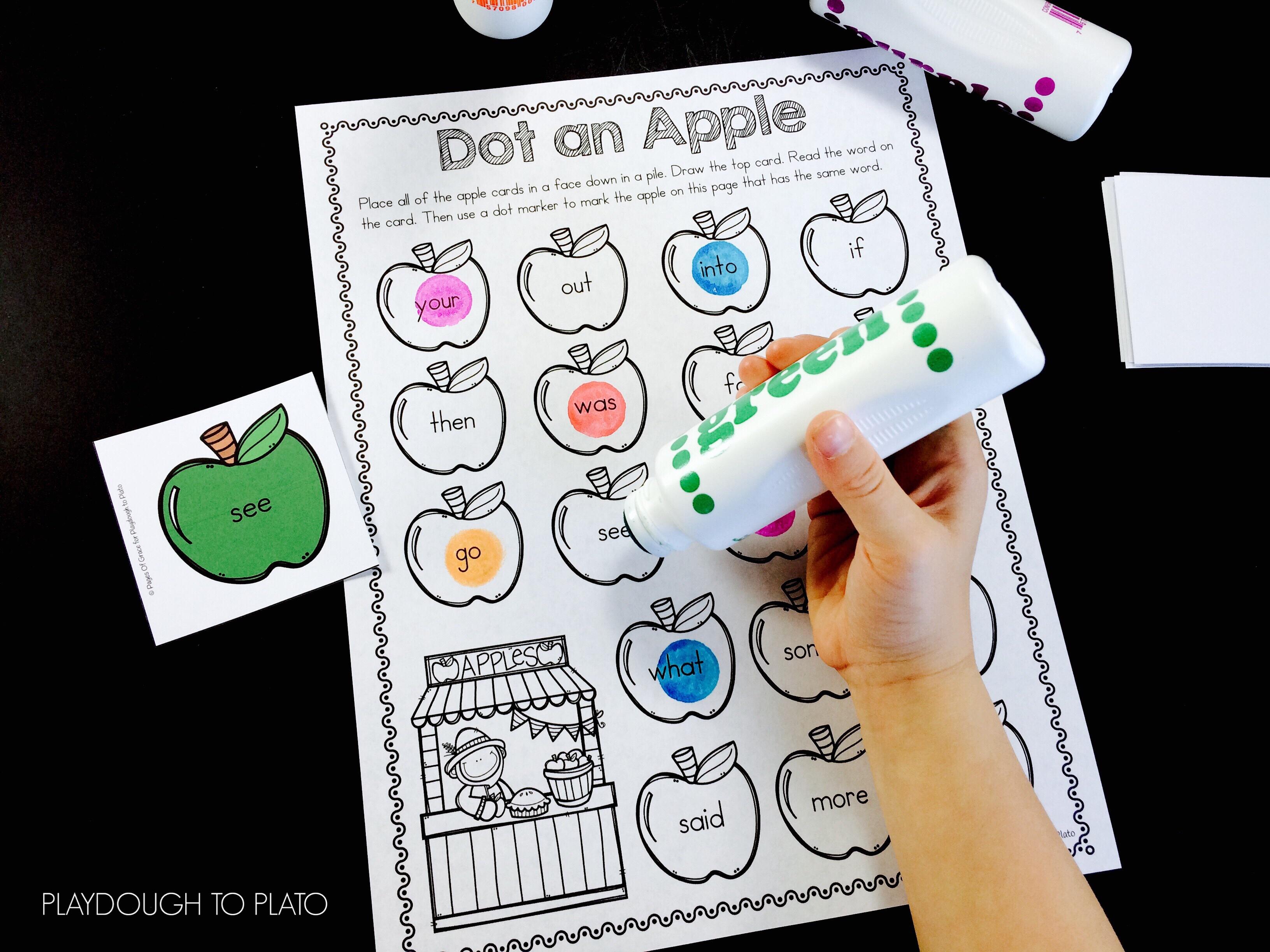 apple sight word game playdough to plato