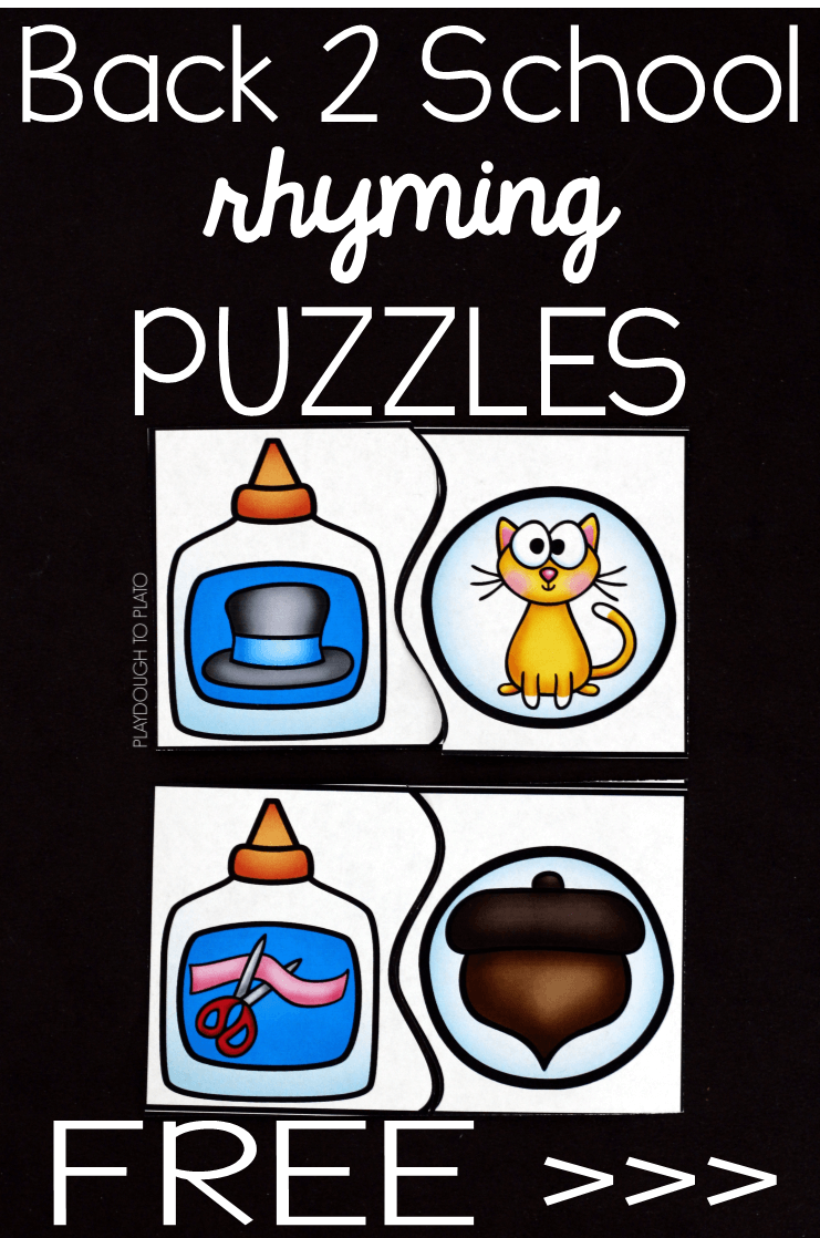 Back to School Rhyming Puzzles