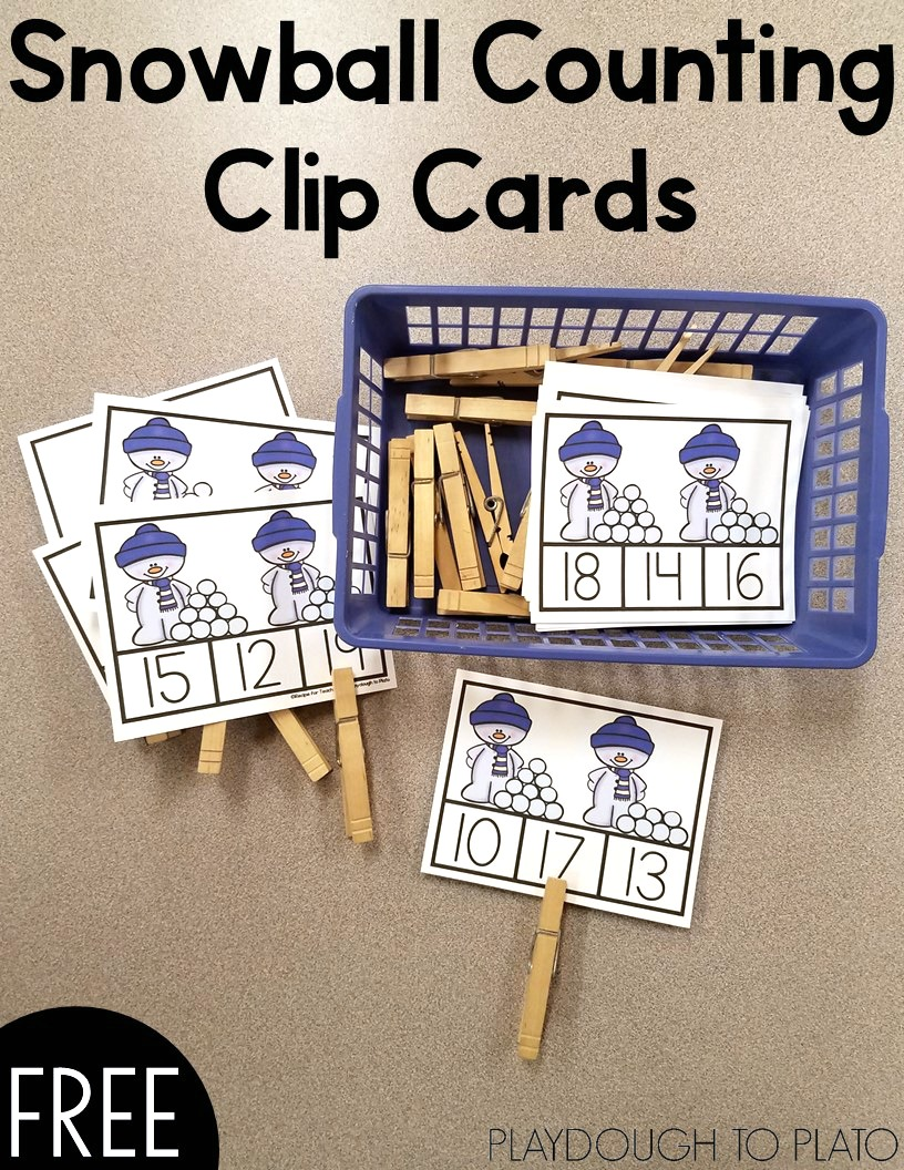 Snowball Counting Clip Cards