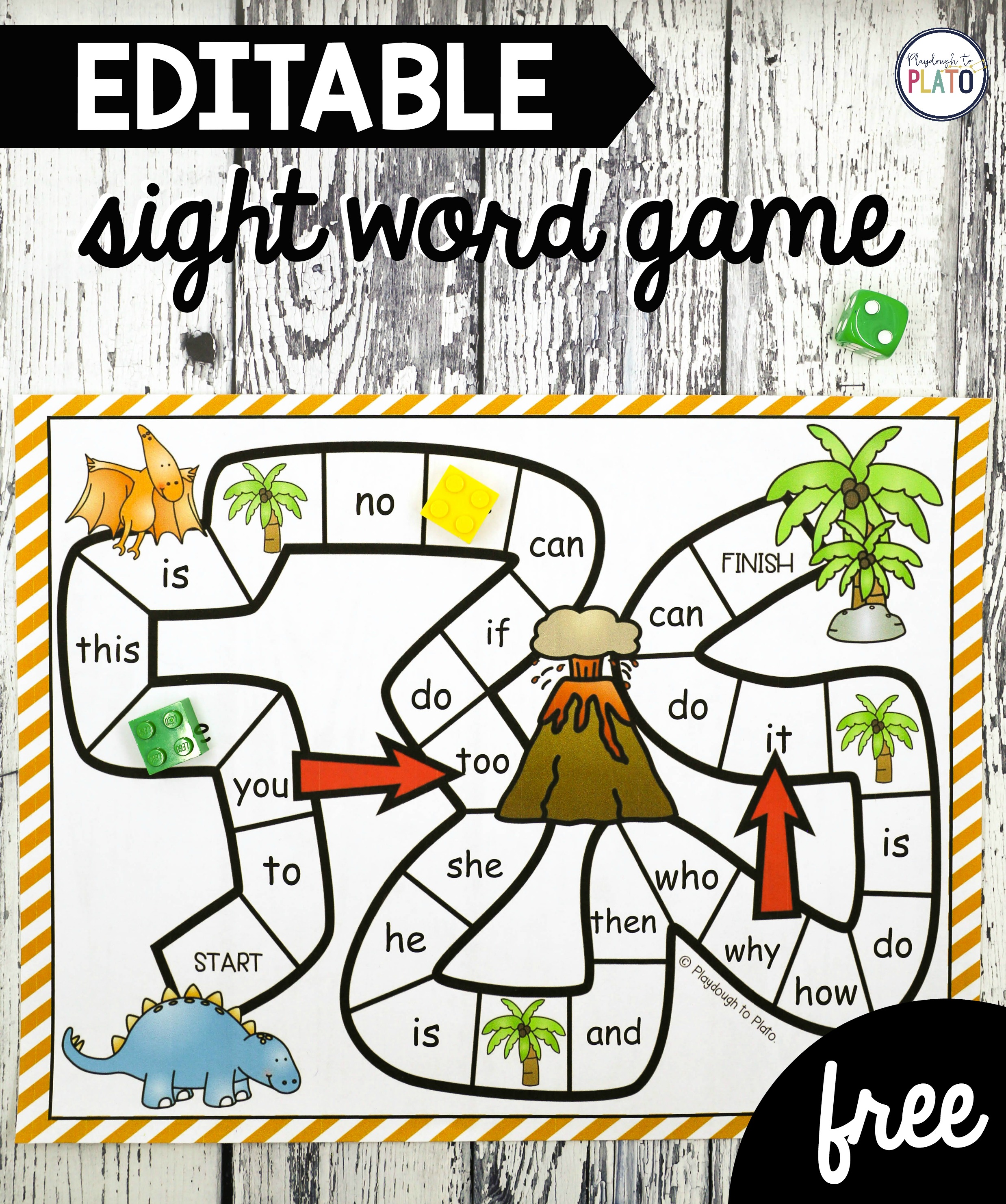 graphic about Free Printable Sight Word Games identified as Dinosaur Sight Phrase Sport - Playdough In the direction of Plato