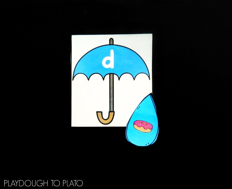 Kids can match the right umbrella to the correct raindrop in this free game from Playdough to Plato.