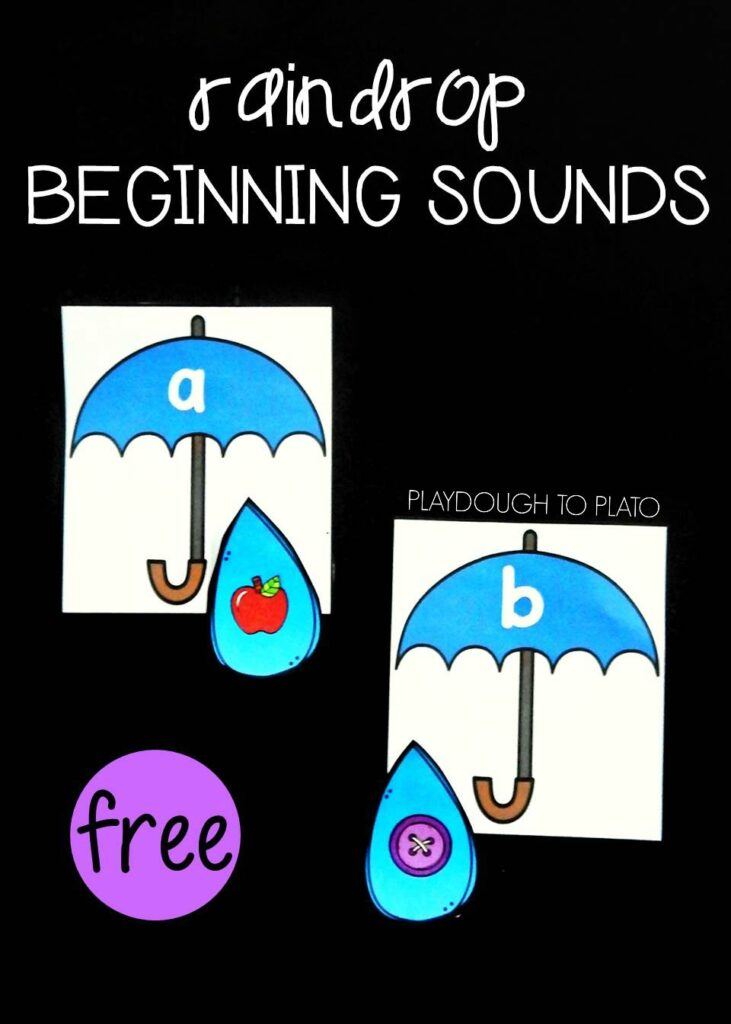 Help your pre-k and kindergarten kids learn their beginning sounds with the free rainy day match from Playdough to Plato!