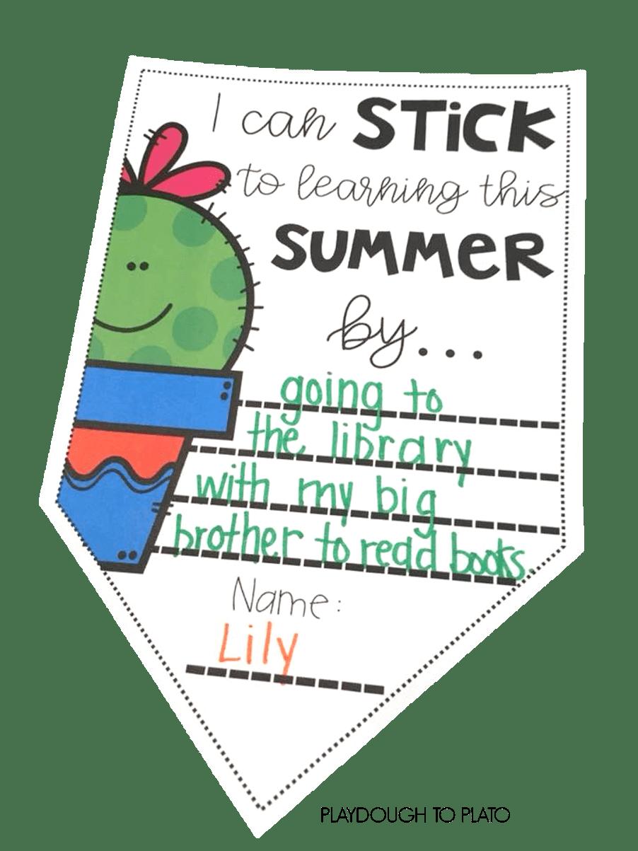 Summer Goals Writing Activity
