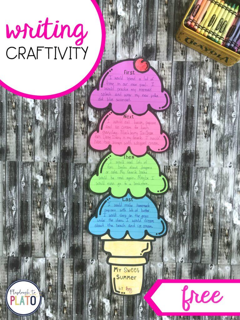 Ice Cream Writing Activity by Playdough to Plato
