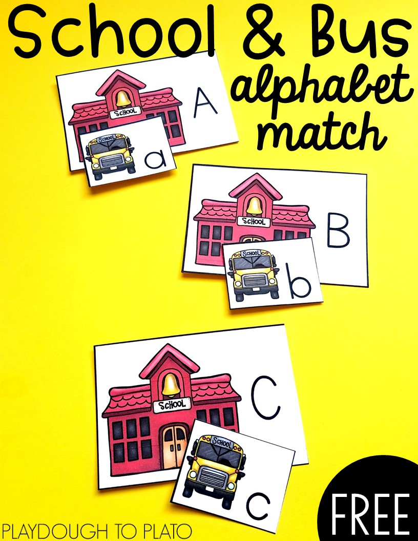 School and Bus Alphabet Match