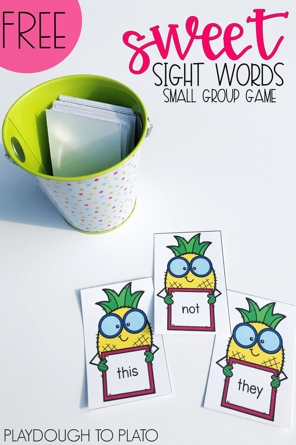 Sweet Pineapple Sight Word Game by Playdough to Plato