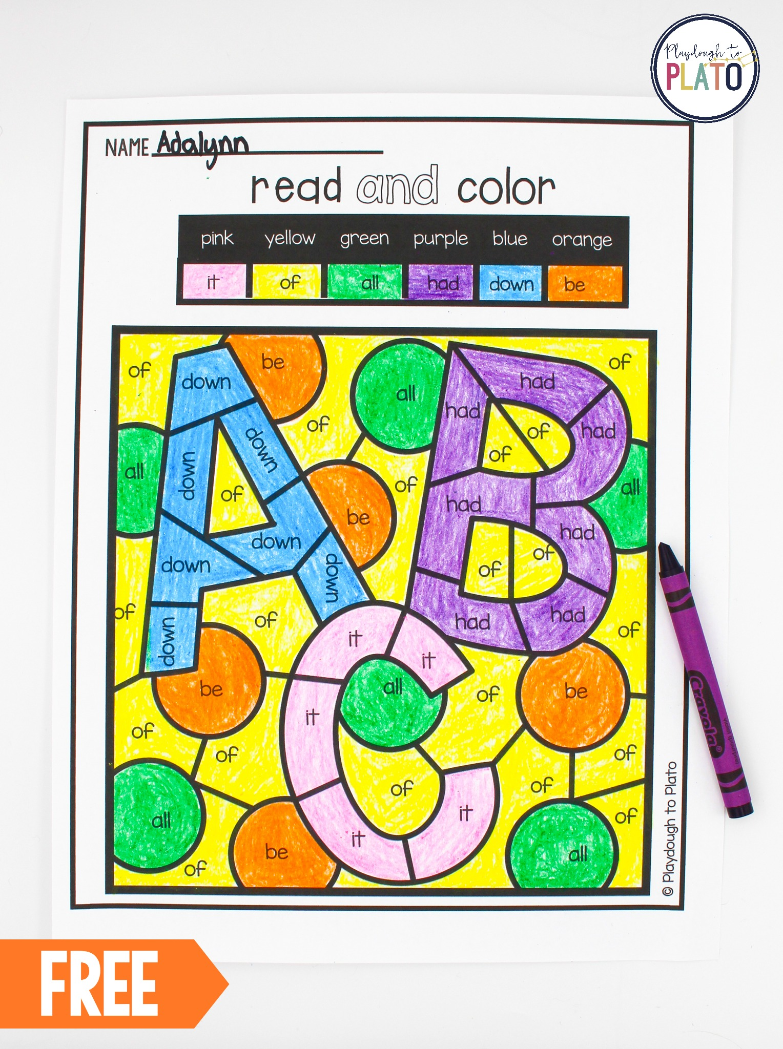 picture regarding Color by Sight Word Printable titled Coloration by way of Sight Phrase - Playdough Toward Plato