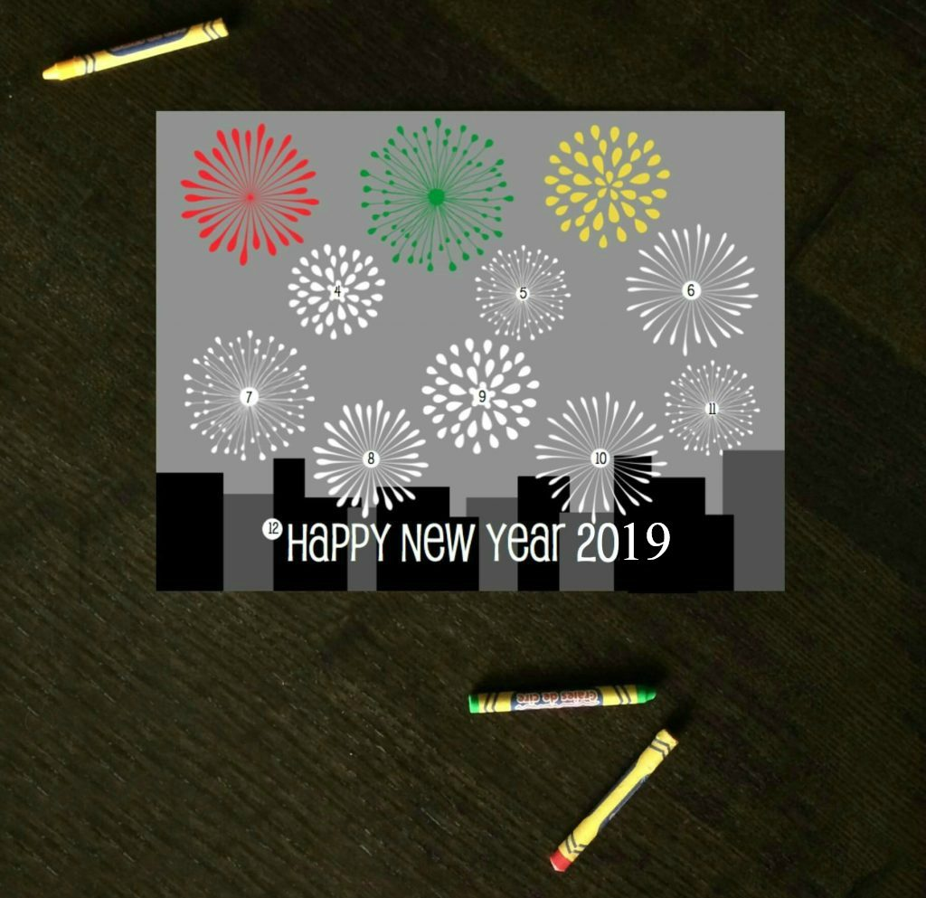New years eve countdown coloring sheet