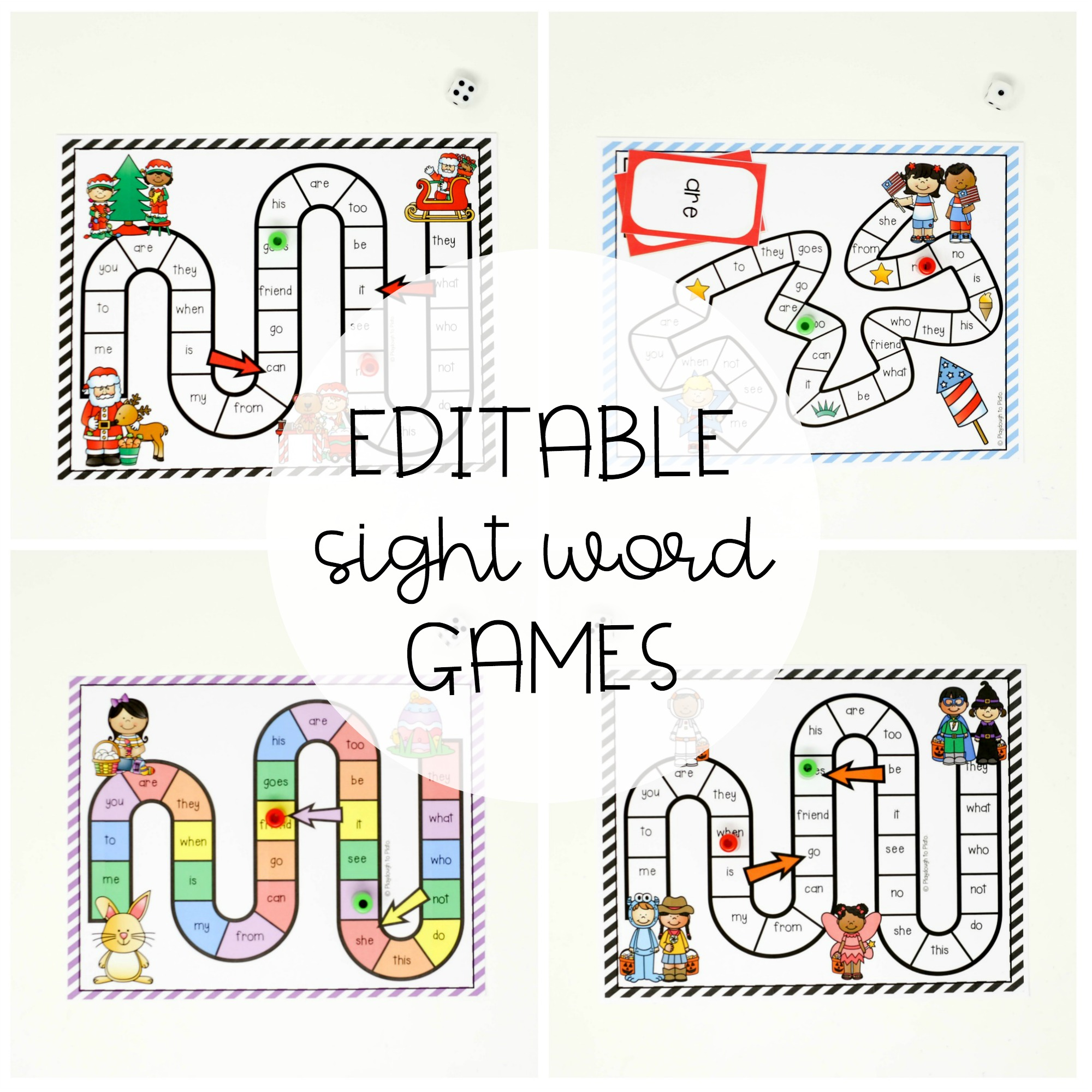 18 EDITABLE Holiday Sight Word Board Games