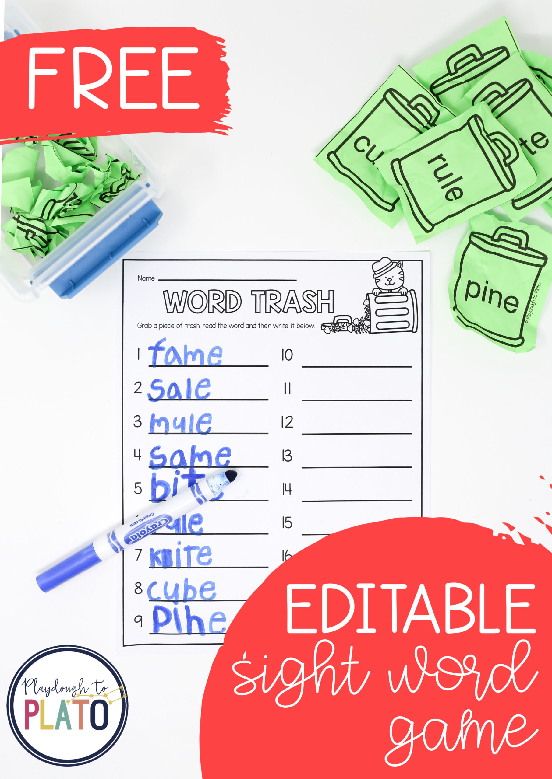 Editable Sight Word Trash