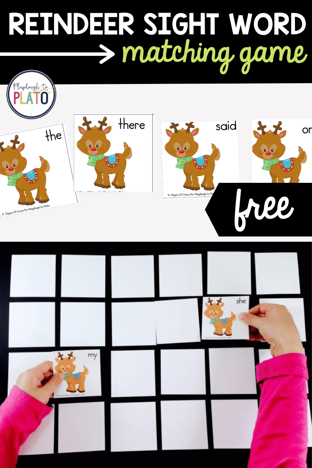 Reindeer Sight Words Matching Game