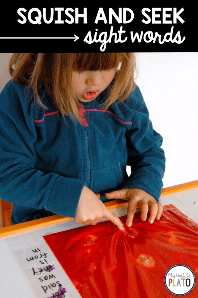 Hide and seek sight words game that allows you to search for sight words through a baggie filled with red paint and then mark off the words you find on a piece of paper next to the baggie.