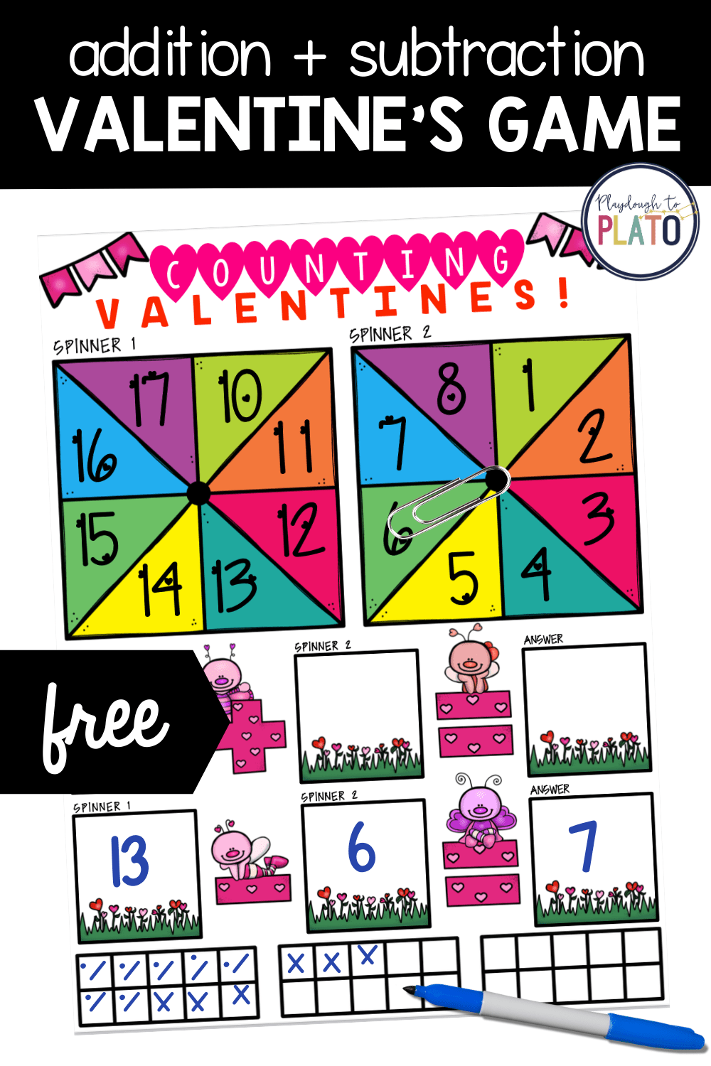 Valentine's Addition and Subtraction Math Game