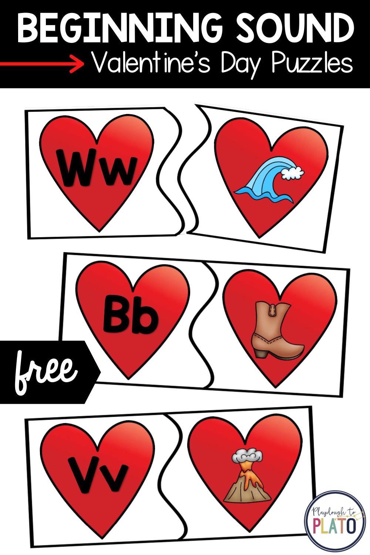 Beginning Sound Valentine's Day Puzzles