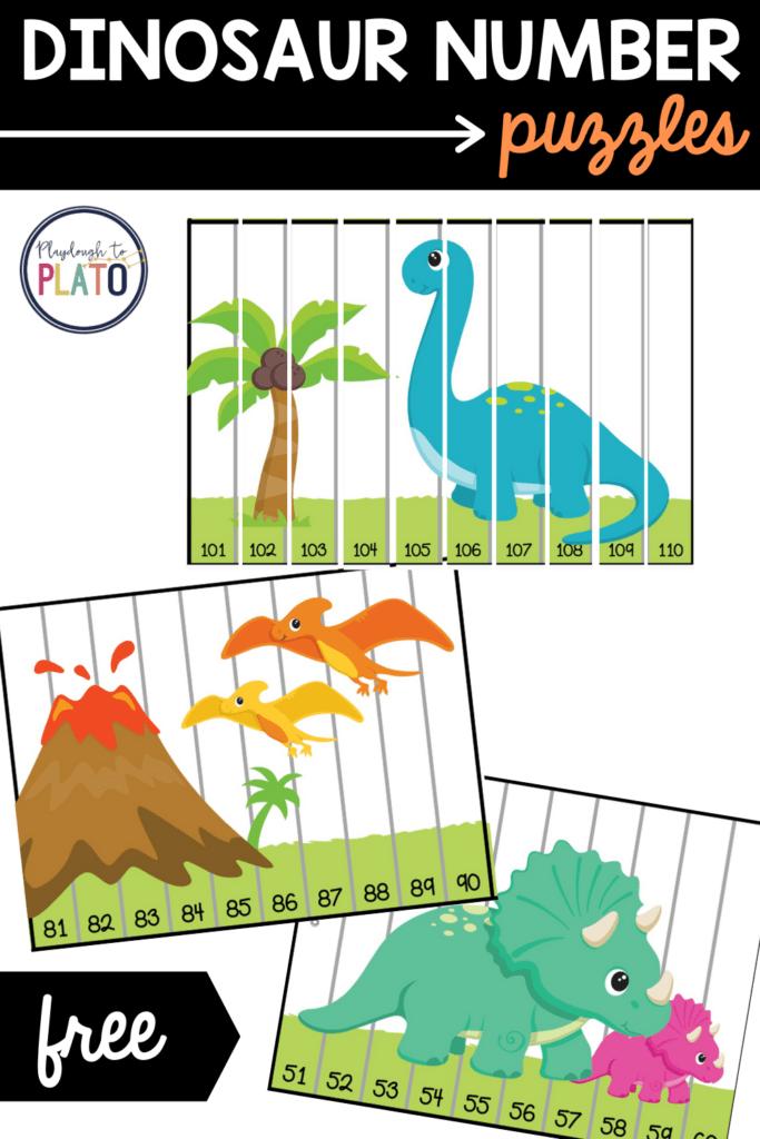 Dinosaur Number Puzzles - Playdough To Plato