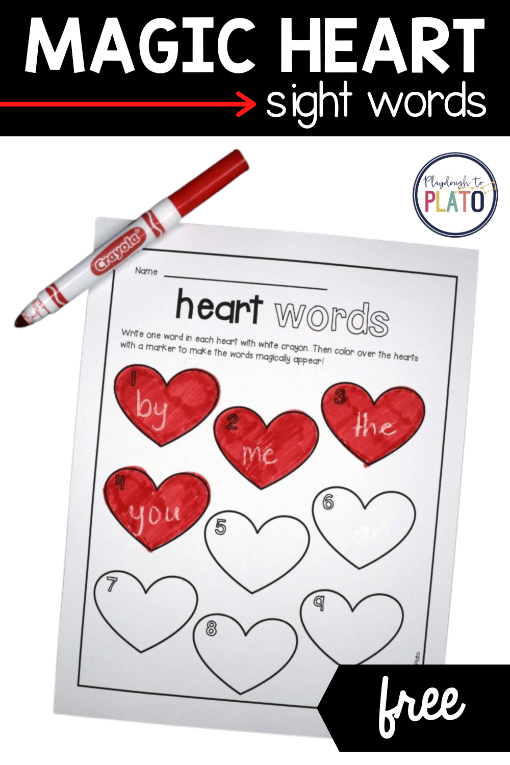 Magic Heart Sight Words Activity